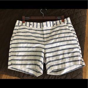 Banana Republic striped blue and white shorts.